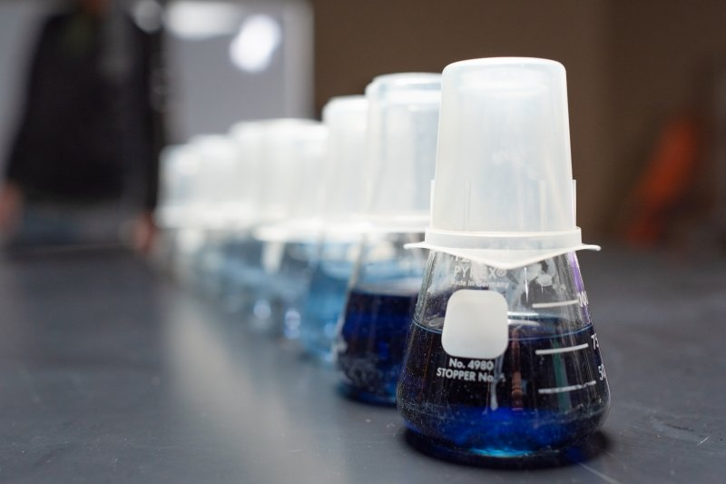 Various colored liquids in glass equipment