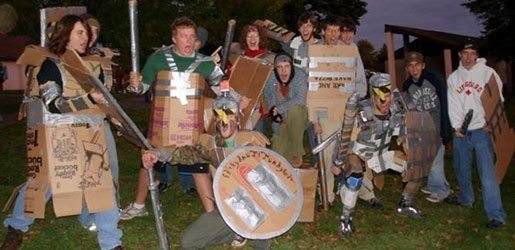 Students dressed in cardboard armor