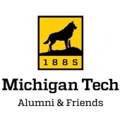 "The Michigan Tech alumni association logo - a husky dog silhouette with ""Alumni Association"" written underneith."