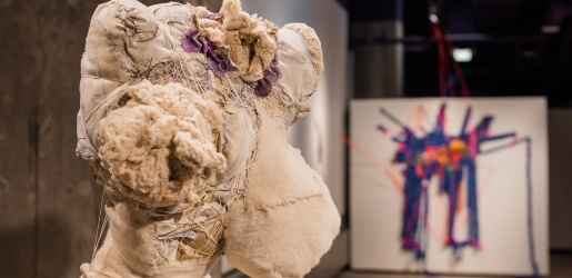 Art in the Rozsa Gallery, sculpture of human form in fiber