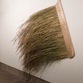 Large handmade brush on the wall of the Rozsa gallery