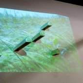 Digital grass projected on a screen with columns protruding.