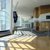 Lobby looking south towards campus with view of the box office