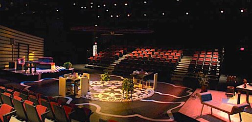 Inside the McArdle Theatre with a dressed sit and lighting