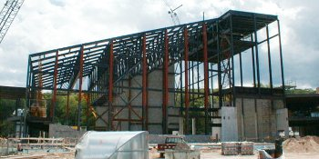 Metal steel structure of the Rozsa during construction
