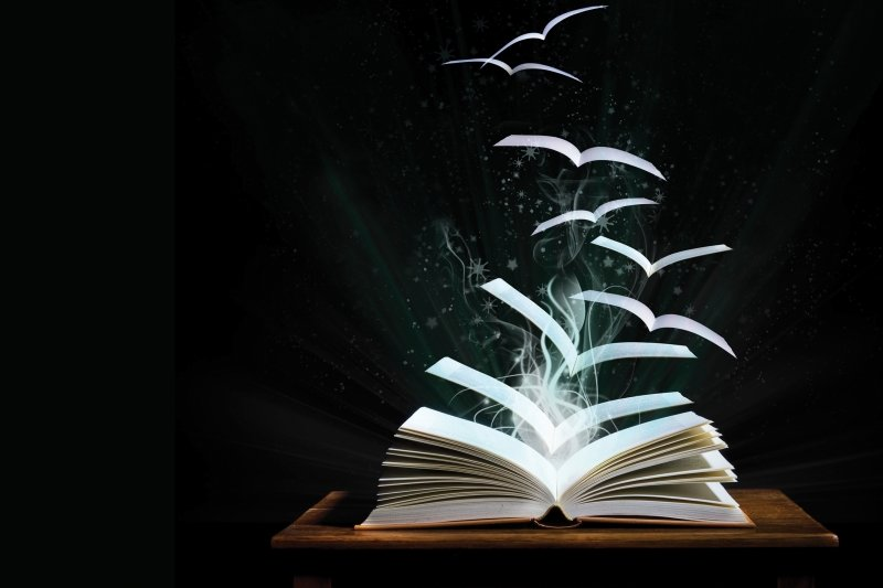 Book with pages flying out like birds