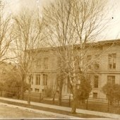 Historic photo of the Michigan College of Mines Administration Building, now called the Academic Office Building.