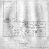 Blueprints for the ground floor of the Michigan College of Mines Administration Building, now called the Academic Office Building.
