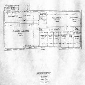 Blueprints for the second floor of the Michigan College of Mines Administration Building, now called the Academic Office Building.