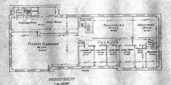 Blueprints for the academic offices building.
