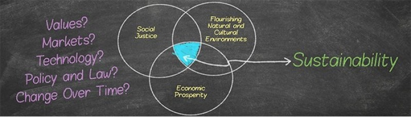 Diagram showing how social justice, economic prosperity, and flourishing natural and cultural environments lead to sustainability.