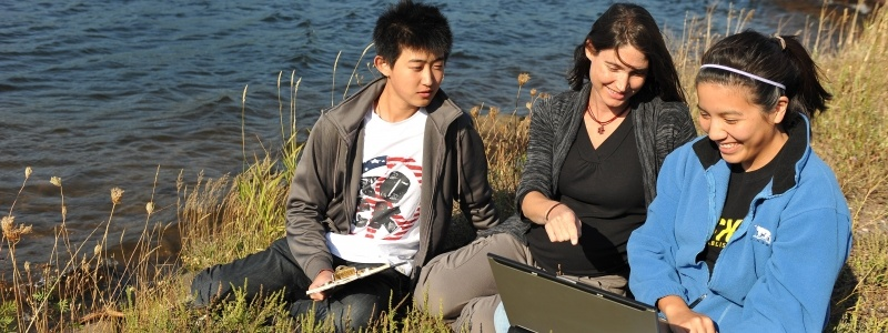 Students and professor setting on the lakeshore, reviewing data on a laptop.