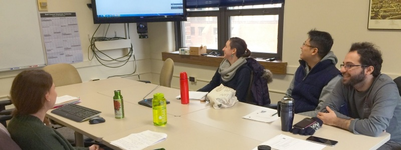 Research faculty and students in a video conference call.