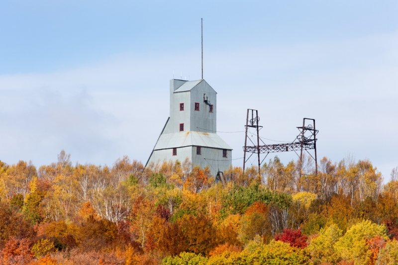 View of No. 9 Mine Shaft in the fall at Quincy Mine, Hancock, MI