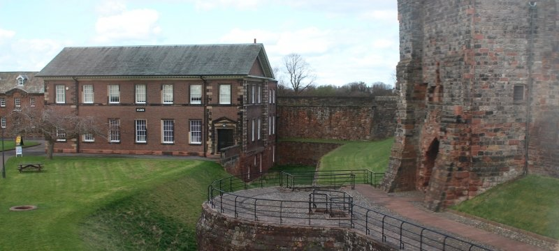 Carlisle Castle, UK. Inside the walls of Carlisle Castle showing the barracks and 'Lady's Walk'