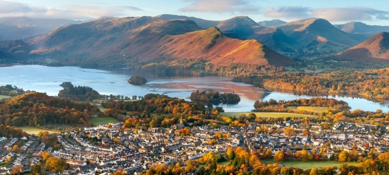 Aerial of Keswick and Derwent Water, Lake District Cumbria, UK