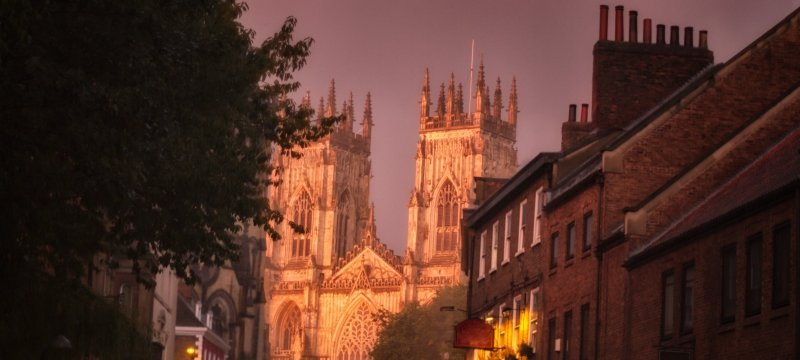 York Abbey, Yorkshire, UK, end of street view, sunset