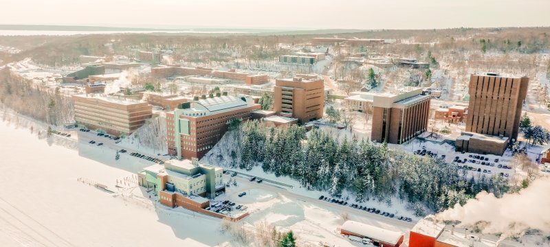 An aerial view of campus in the winter.
