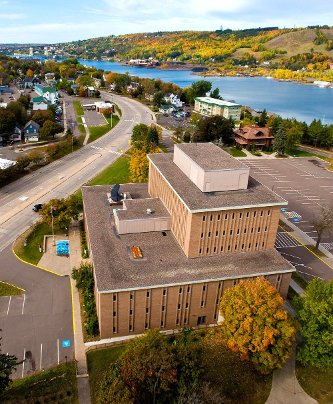 Aerial view of the Administration Building.