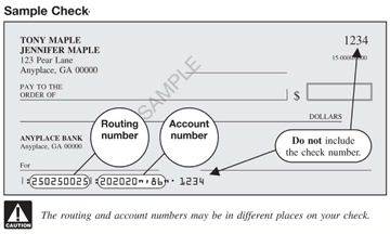 Sample check with routing and account numbers circled.
