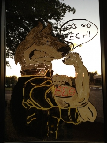 Muscular Blizzard T Husky window painting.