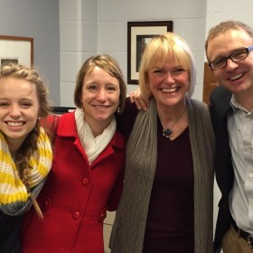 Alphabetical college touring, starting with the A's: John and Jodi Lehman and their daughter, Maddy, meet with a professor at Adrian College. (We think she'll find her perfect fit once she hits the M's…)