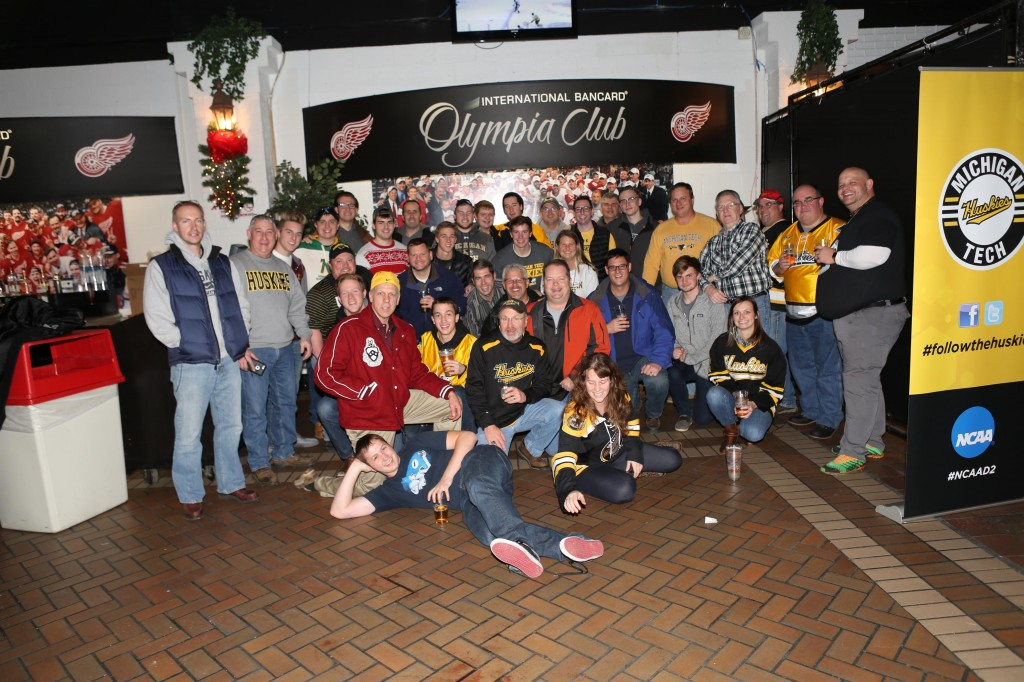 Husky fans of all ages gathered in the Garden room for the Detroit Chapter pre-game party during the 2015 Great Lakes Invitational.