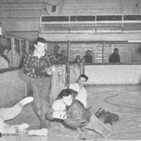 1961 Broomball photo from the Keweenawan yearbook