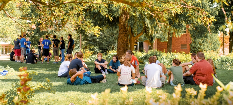 Students gathered on the campus mall