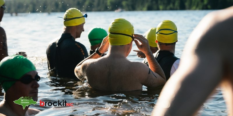Swimmers in the Copperman Triathlon and Duathlon