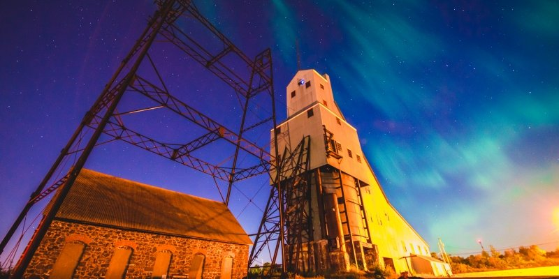 Northern Lights behind the Quincy Mine Hoist.