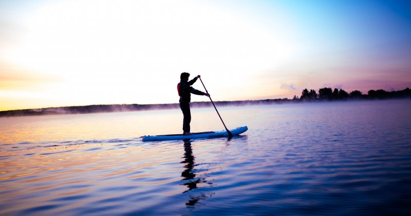 Paddleboarding on Portage Lake