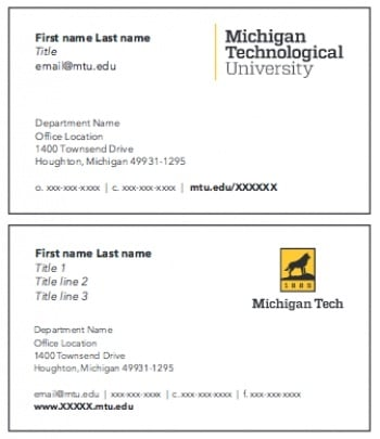 business card front options