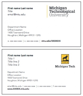 Michigan tech brand guide university marketing and communications business card front options colourmoves