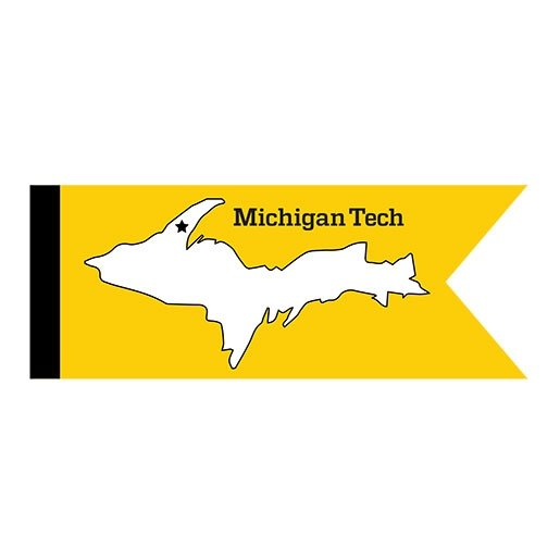 An illustration of a flag with Michigan Tech's location marked on the upper peninsula