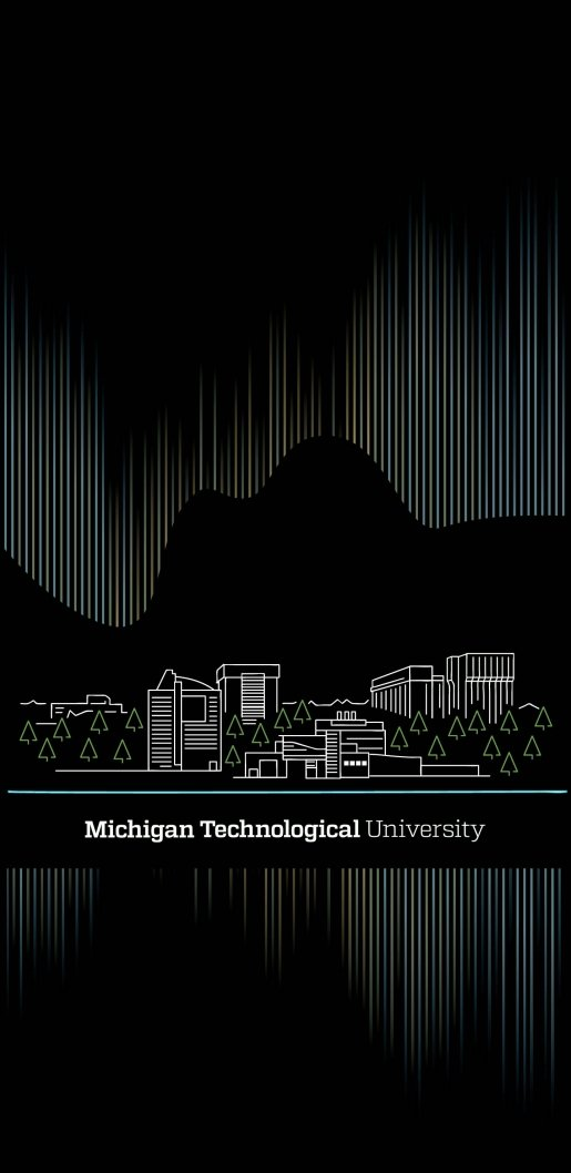 Black background with an illustration of the Northern Lights over the Michigan Tech campus