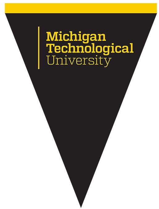Pennant with the Michigan Technological University logo on a black background