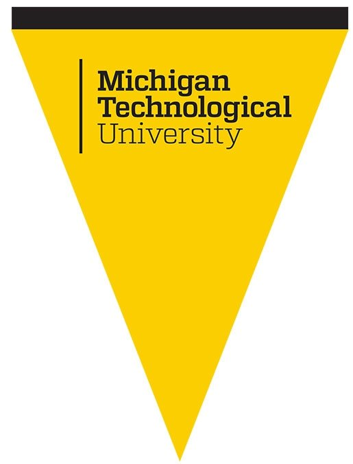 A gold pennant with the Michigan Technological University logo