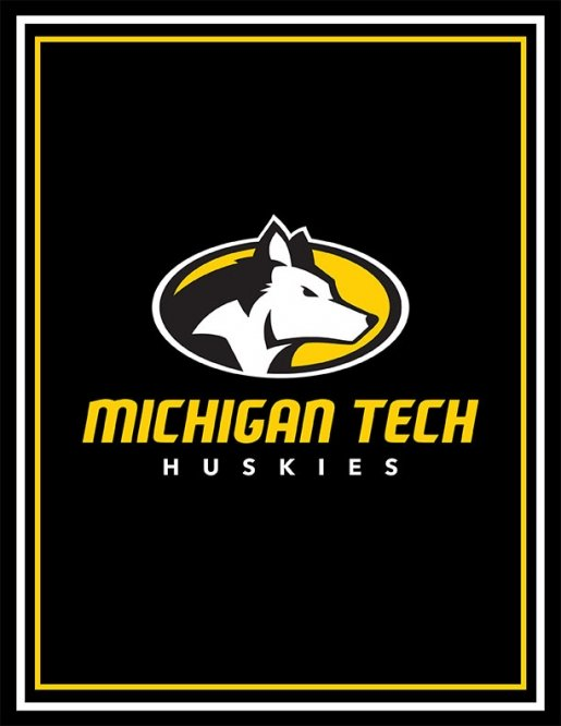 Poster with the Michigan Tech athletics logo on a black background