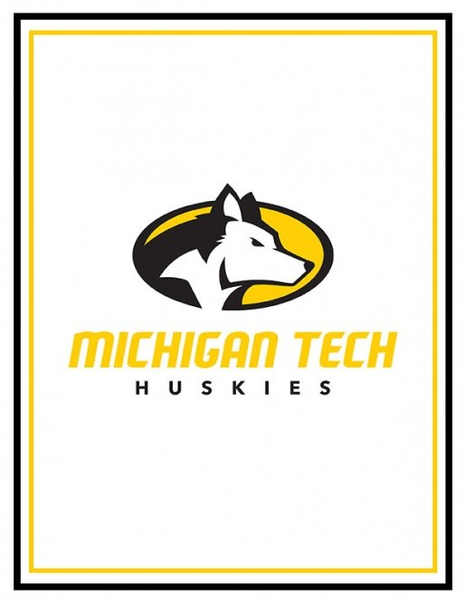 Poster featuring the Michigan Tech athletics logo on a white background