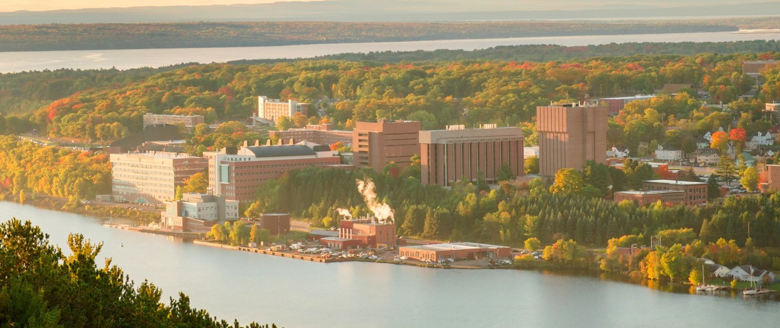 Fall, aerial view of campus.