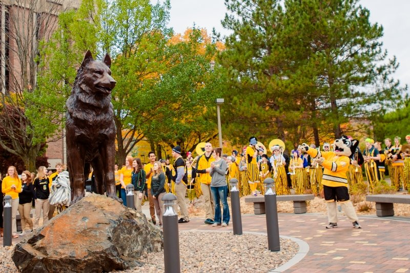 Blizzard and the pep band around the Husky Statue.