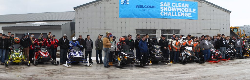 Students line up before the endurance run up to Copper Harbor as part of the 2016 Clean Snowmobile Challenge.