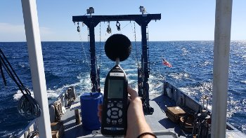 measuring sound levels on deck