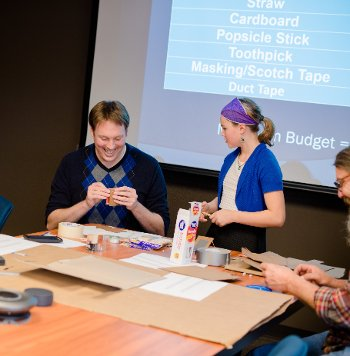 "The ""Stop That Truck!"" activity took over a Dillman Hall conference room for an afternoon to pit toothpicks against cardboard."