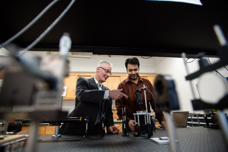 Anindya Majumdar studies speckle optics with Sean Kirkpatrick in the Department of Biomedical Engineering.