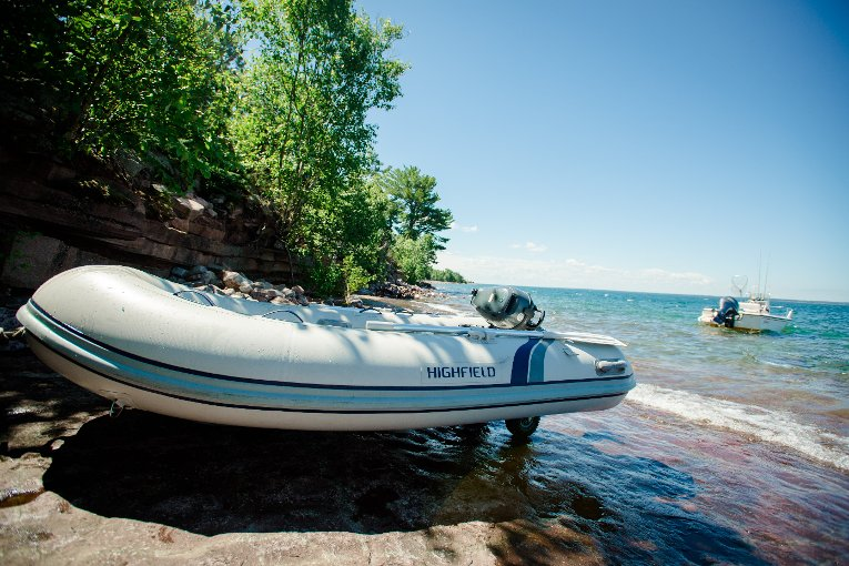 An inflatable dinghy stowed out of reach of the waves serves for short junkets. A 17-foot Boston Whaler attached to a permanent mooring is used for the four-mile trip to the mainland. On rough days, inhabitants are marooned until the weather clears.