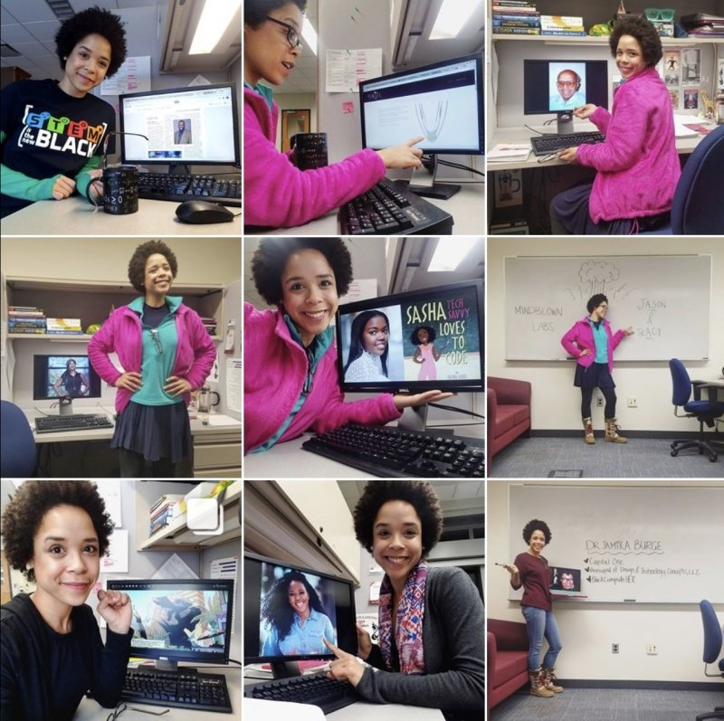 9 squares in an Instagram profile with nine photos of the same smiling woman with computer screens and a white board behind her in an office
