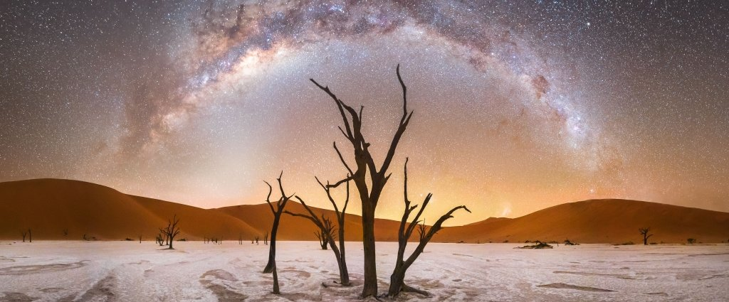 Milky Way over mountains and trees in Namibia