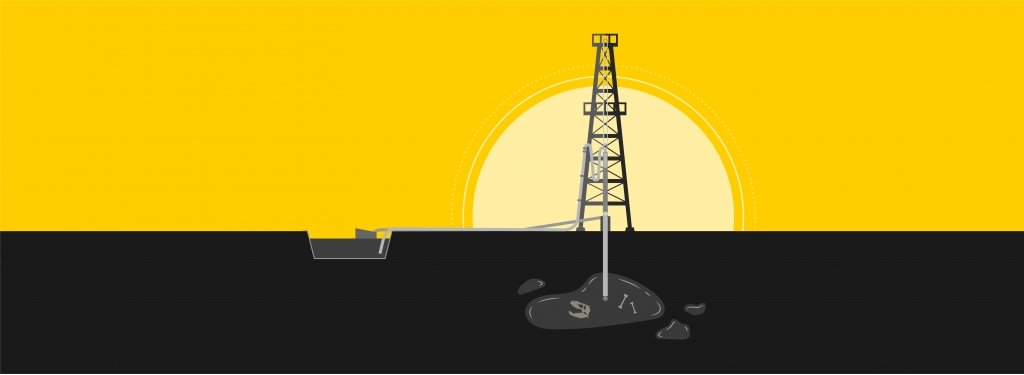 A stylized oil derrick pumping oil from an underground repository with the sun rising behind it.